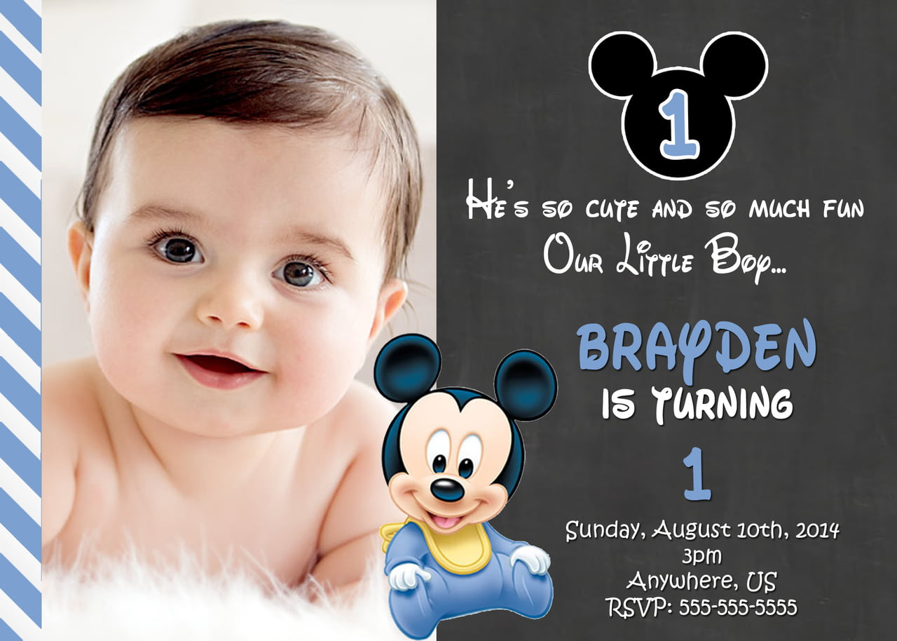 Chalkboard Mickey Mouse 1st Birthday Invitation Ideas