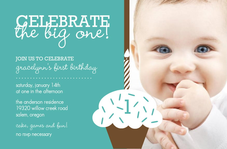 Cupcake Baby Boy First Birthday Invitation Custom Photo