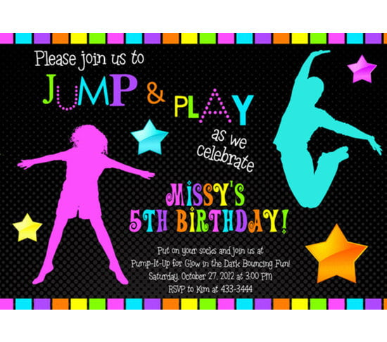Custom Jumping Glow In The Dark Birthday Invitations