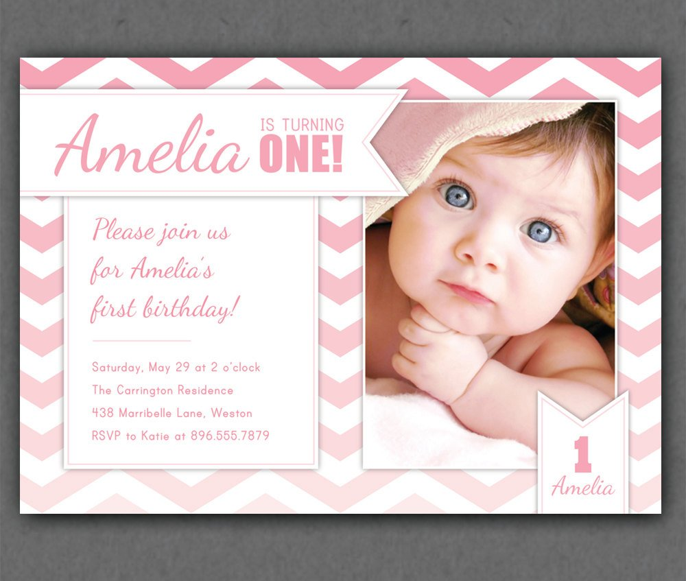 Customized Photos One Year Old Birthday Invitations
