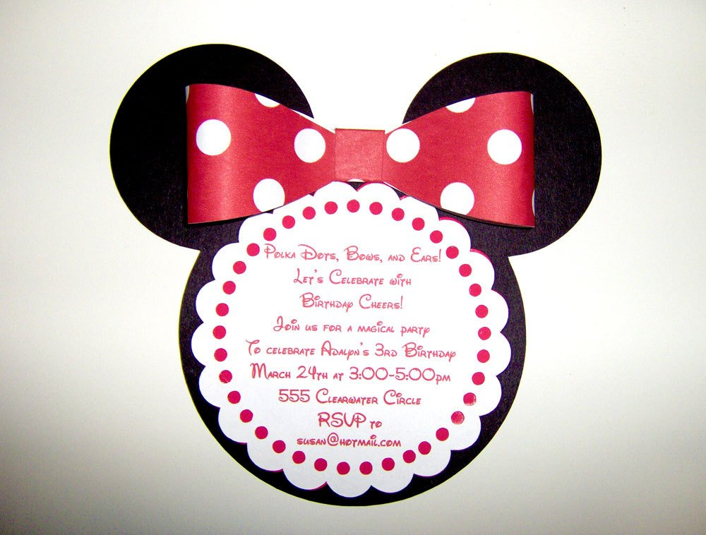 Do It Yourself Minnie Mouse Birthday Invitation Design