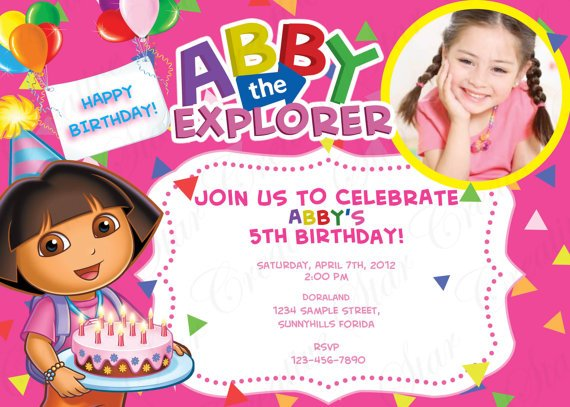 Dora The Explorer 5th Birthday Invitation For Girls