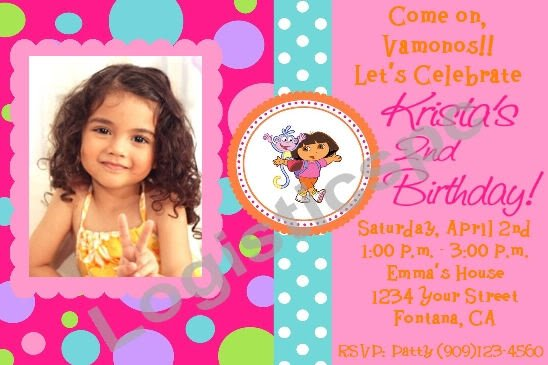 Dora The Explorer Birthday Invitation Custom Photo