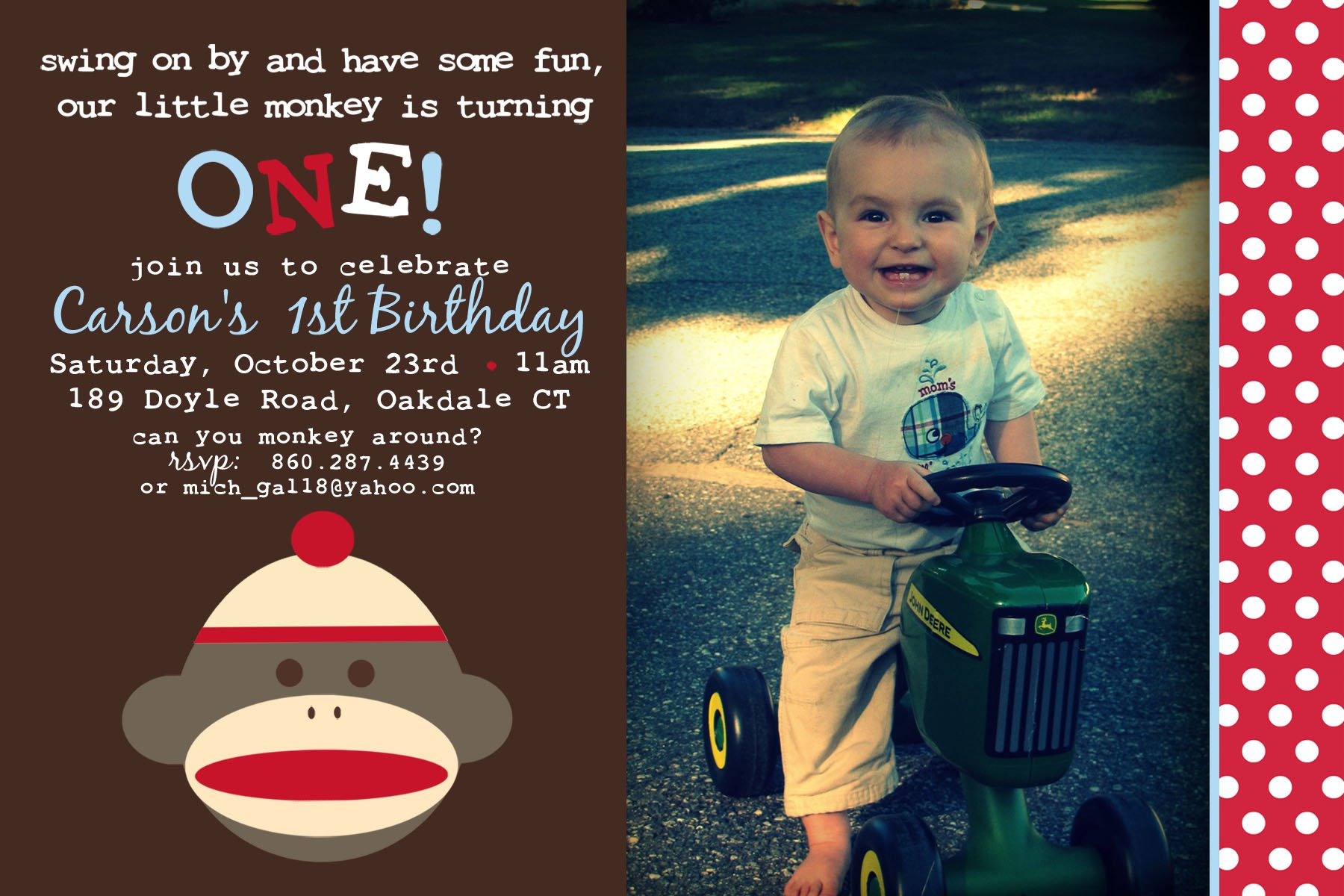 Free Printable One Year Old Monkey Birthday Invitation