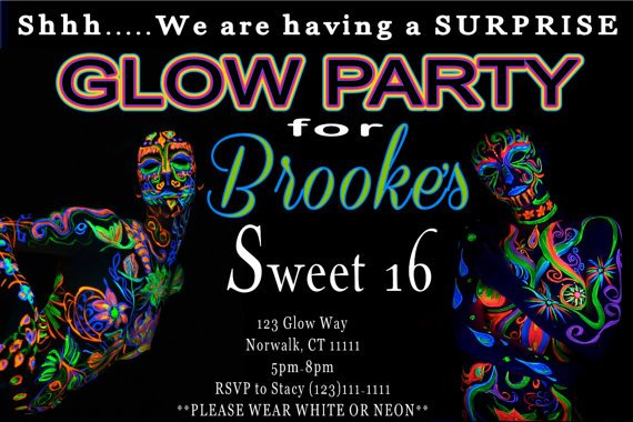 Glow In The Dark Sweet 16th Birthday Invitations