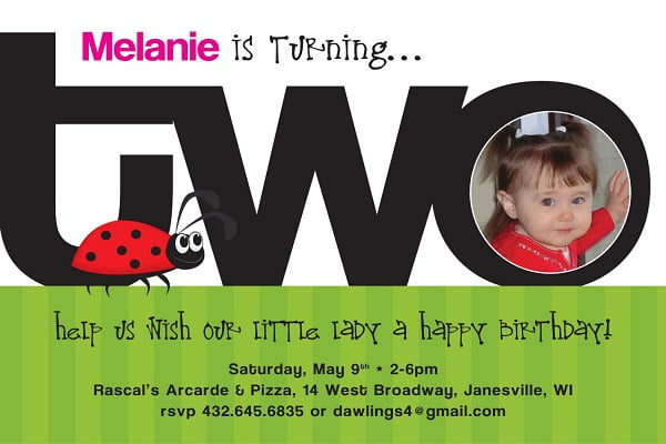 Ladybug 2nd Birthday Party Invitation Wording Ideas