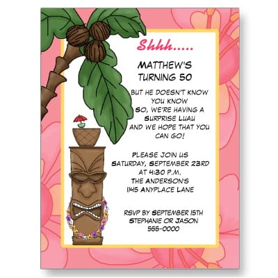 Luau Surprise Birthday Invitation Templates