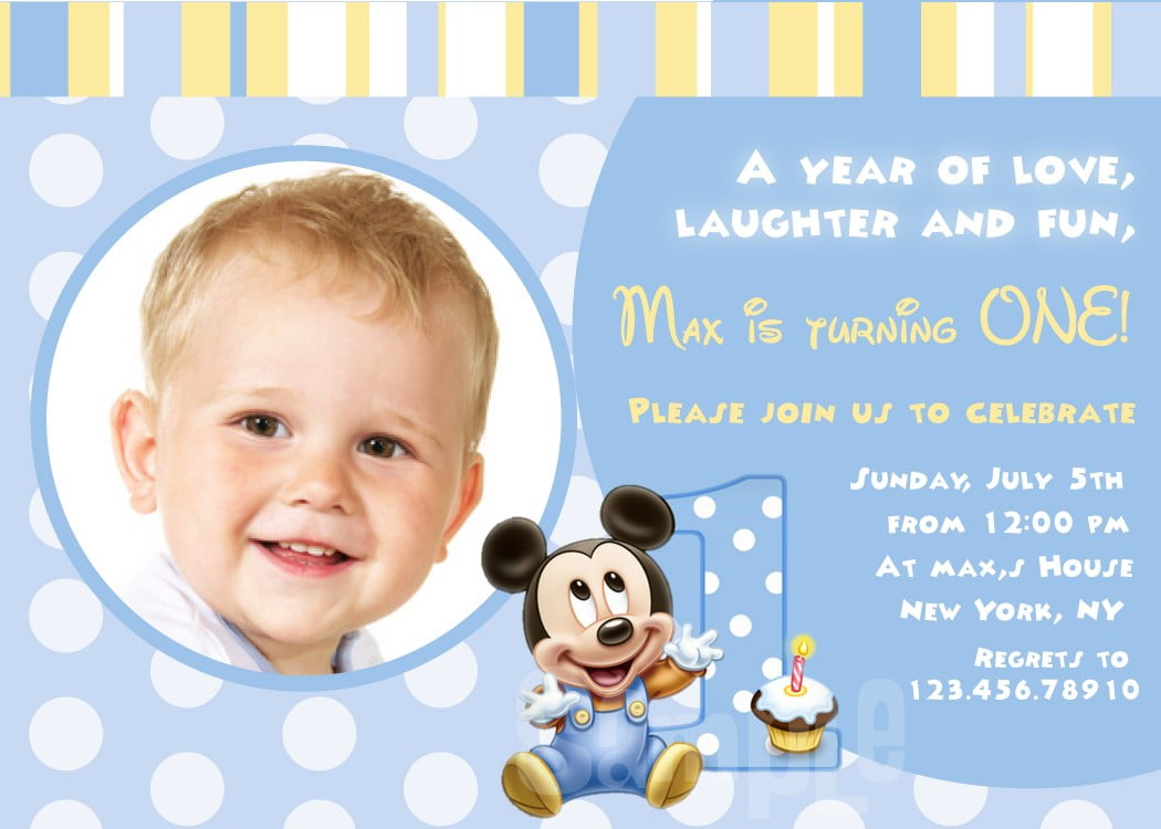 mickey mouse first birthday invitations