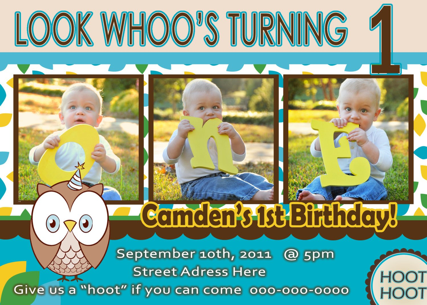 One Year Old Owl Birthday Invitation For Boys