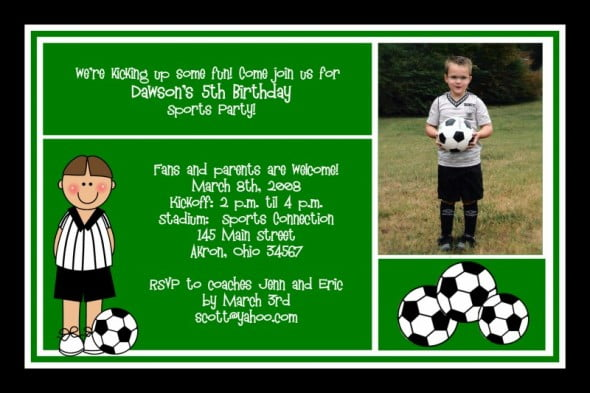 Personaized Soccer 5th Birthday Party Invitation Wording