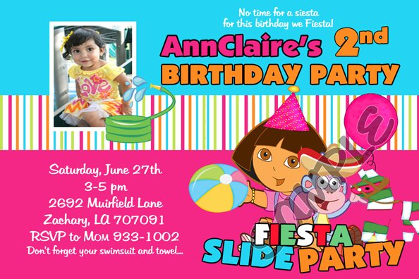 Personalized Dora The Explorer Birthday Invitation With Photo