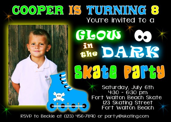 Personalized Glow In The Dark Birthday Invitation Custom Photo