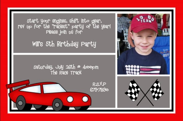 Personalized Race Car 5th Birthday Party Invitation Wording