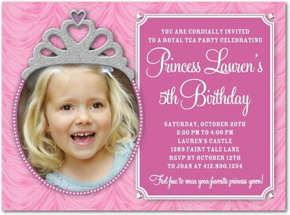 Princess Birthday Party Invitation Wording Ideas For Girls