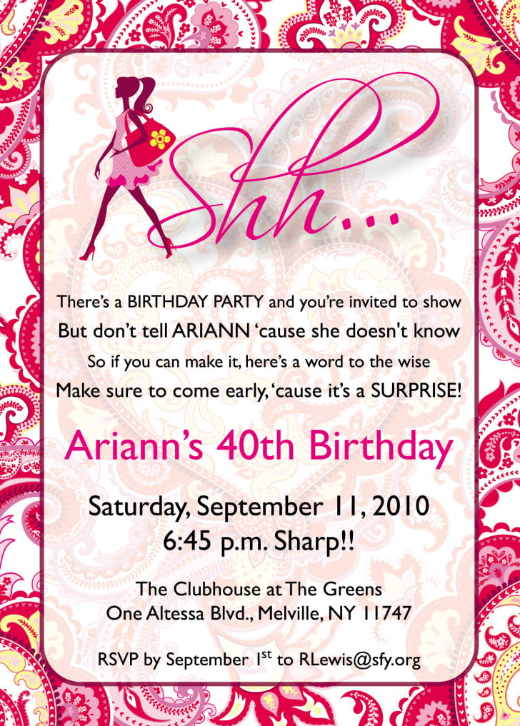 Surprise Birthday Invitation Templates For Girls