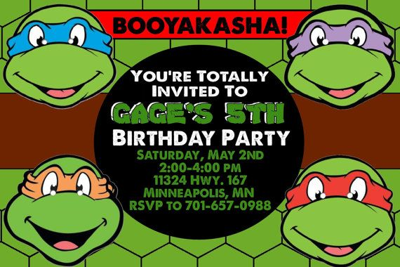 Teenage Mutant Ninja Turtles Birthday Invitations Template ...