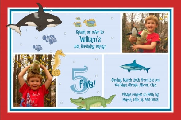 Under The Sea 5th Birthday Party Invitation Wording