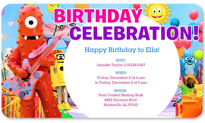 yo gabba gabba birthday invitations  drevio invitations design, Birthday invitations