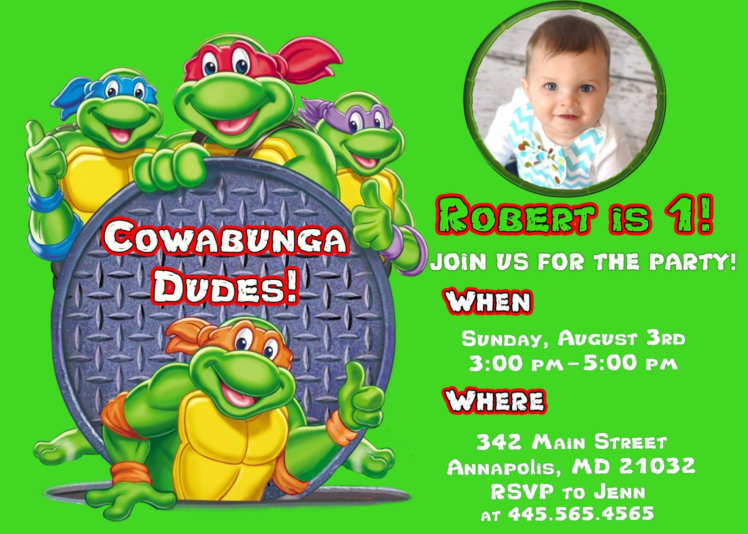 1st Ninja Turtle Birthday Party Invitations Photo