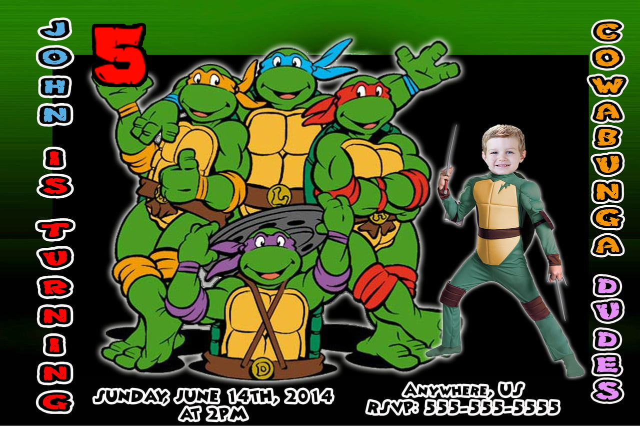 Ninja Turtle Birthday Party Invitations 5th