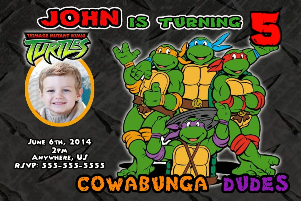 black Ninja Turtle Party Invitations