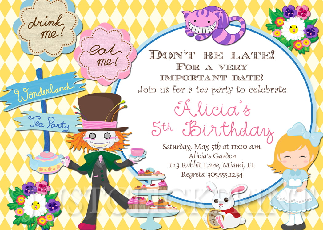 5th Alice in Wonderland Invitation