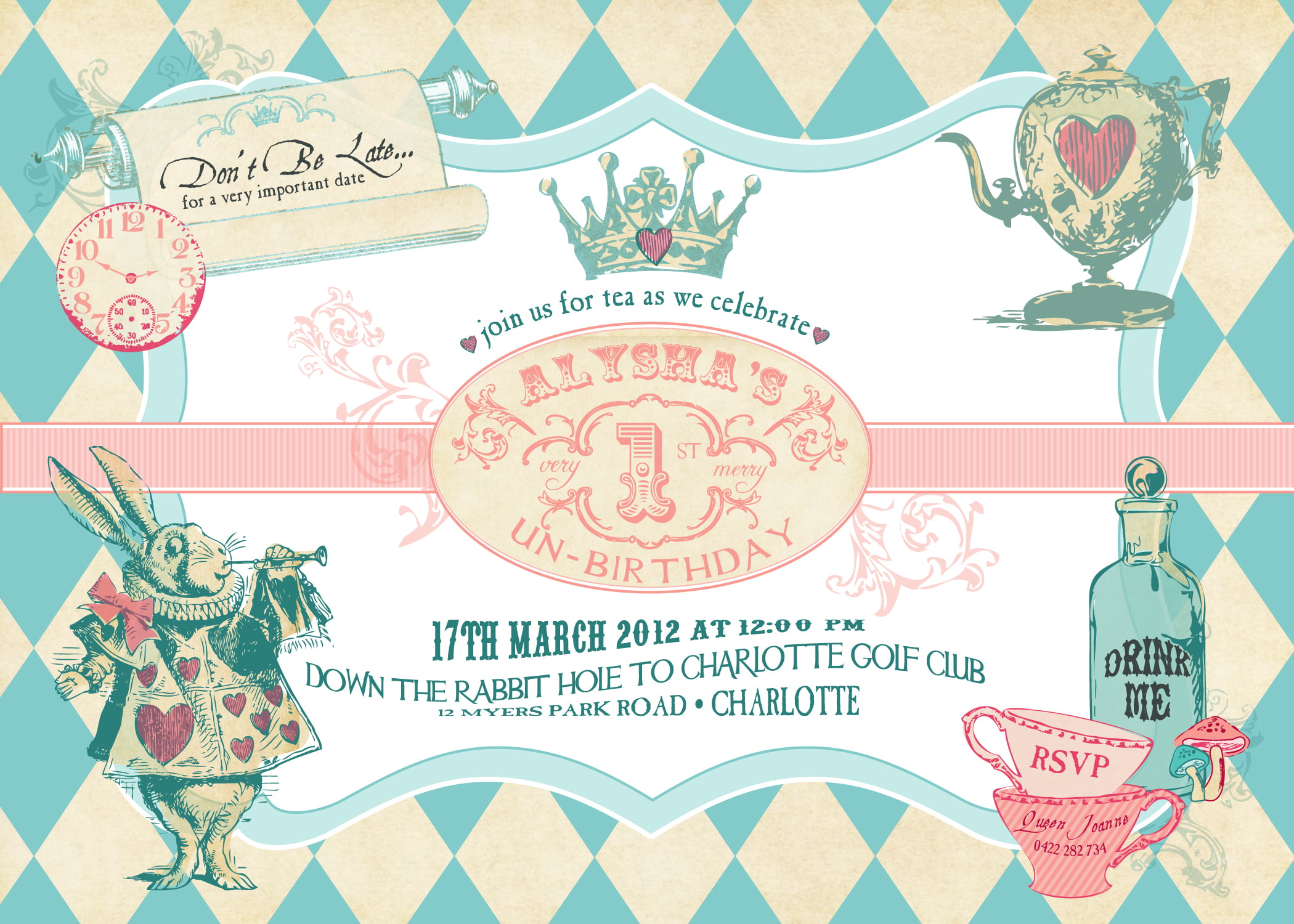 Kingdom Alice in Wonderland Invitation