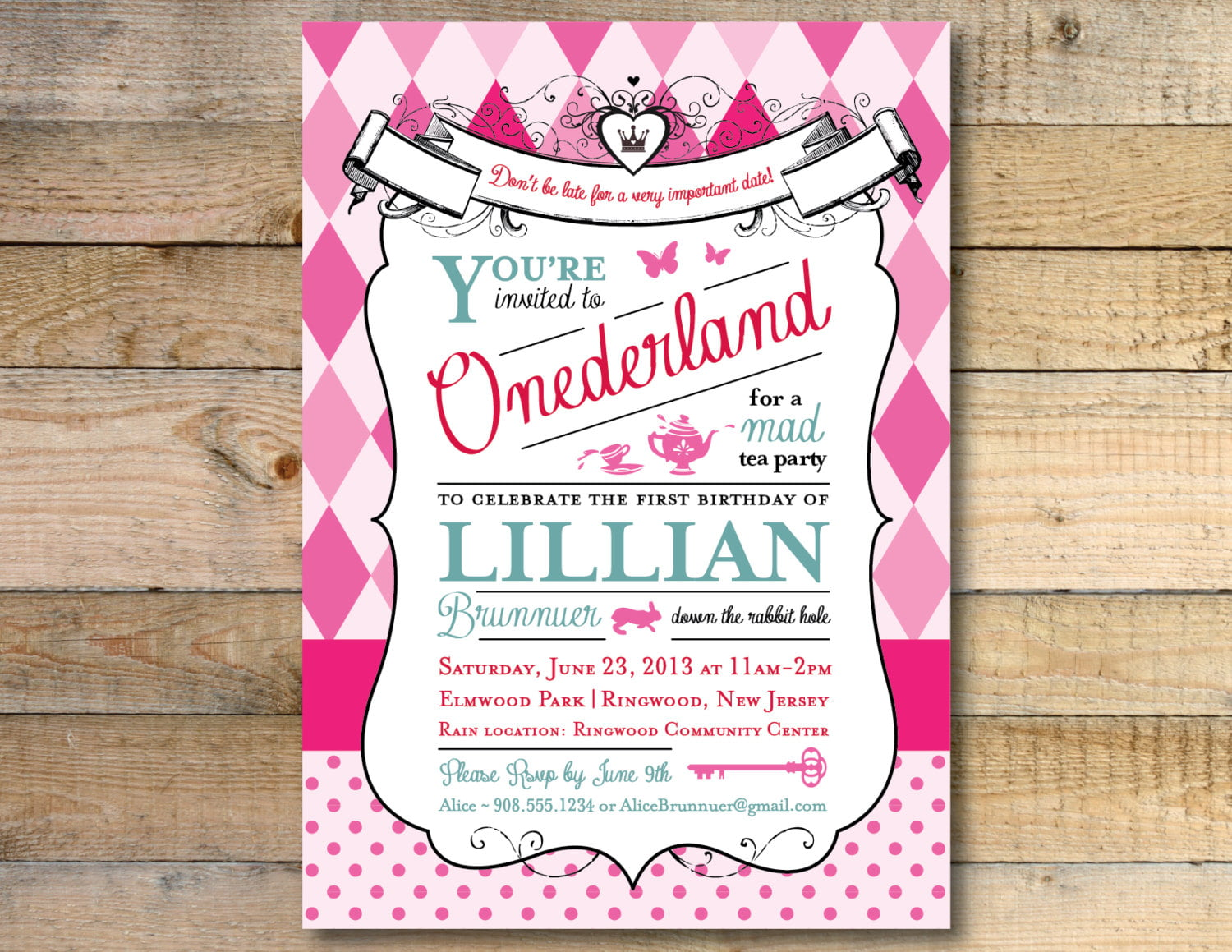 Pink Alice in Wonderland Invitation