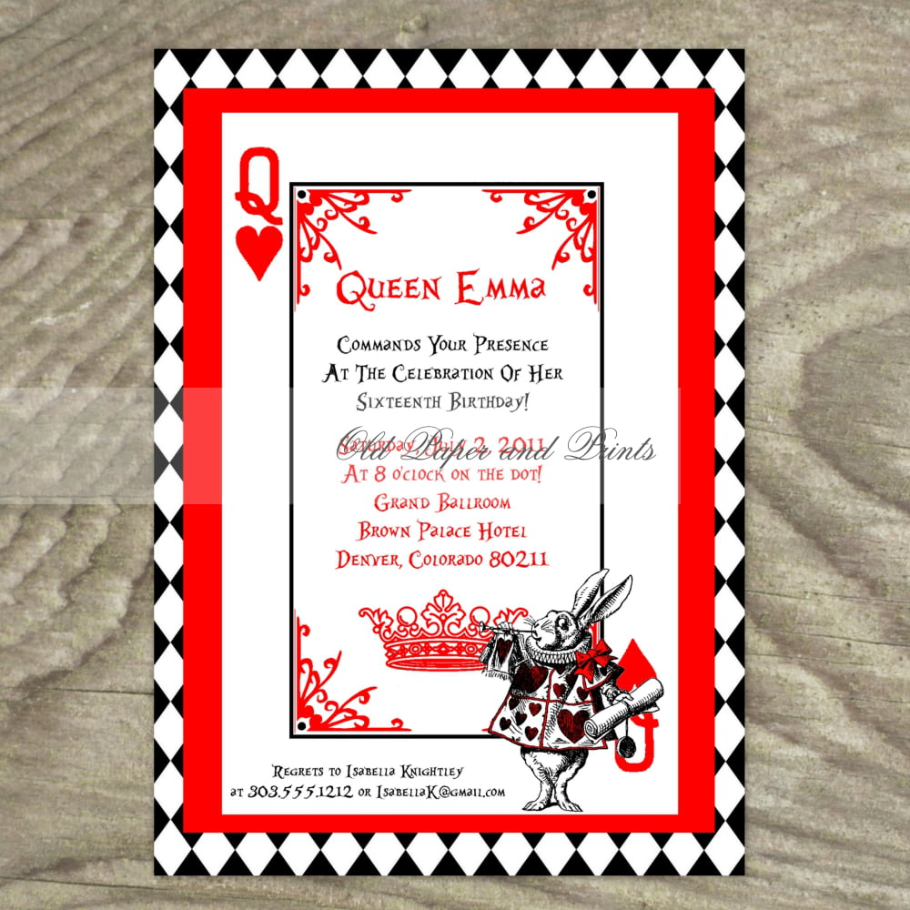 Queen card Alice in Wonderland Invitation