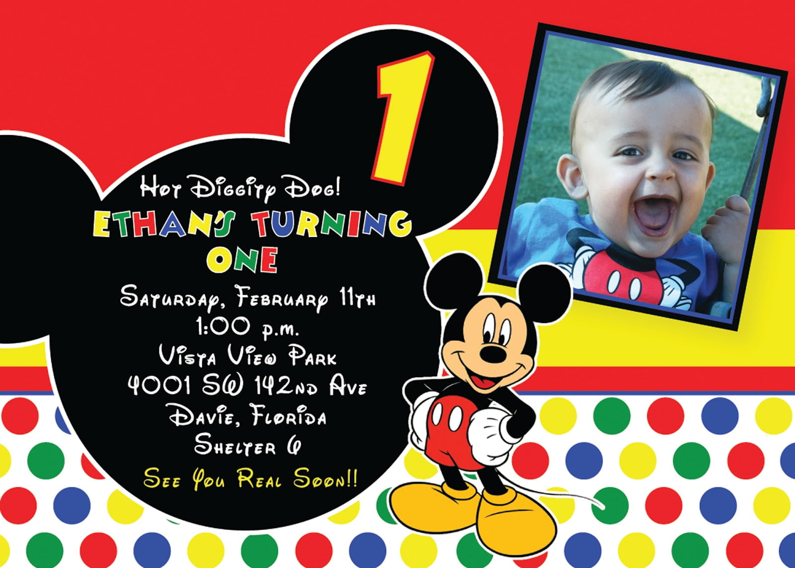 Colorful Polkadot Mickey Mouse Birthday Invitation with Picture