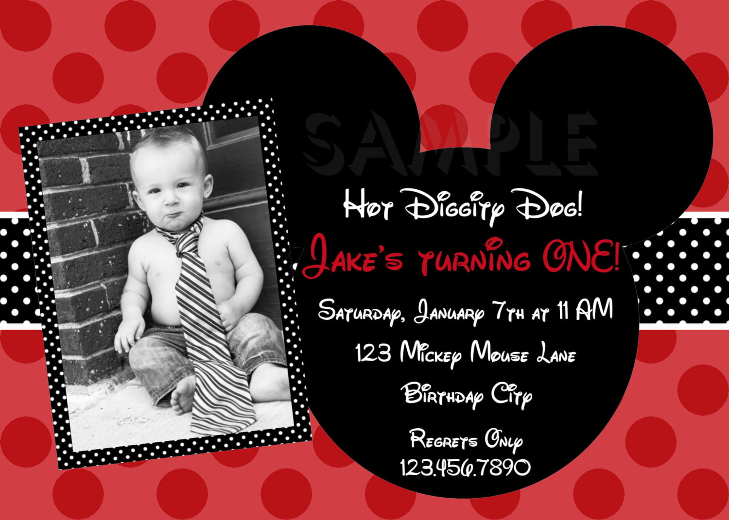 1st Birthday Invitation Wording Mickey