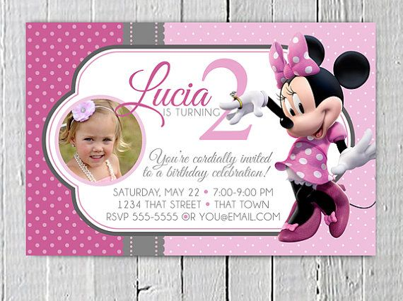 photo customized minnie mouse birthday party invitations