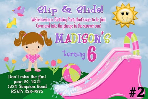 fun water slide birthday party invitations