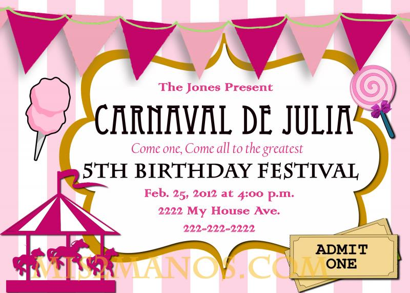 free printable pink carnival birthday invitations