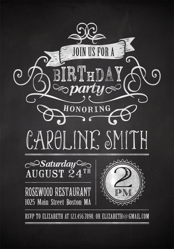 Chalkboard adult Birthday Party Invitation