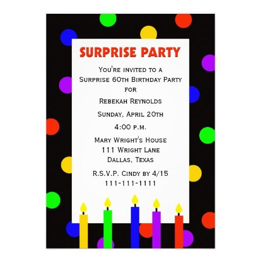 colorful surprise 60th birthday party invitations