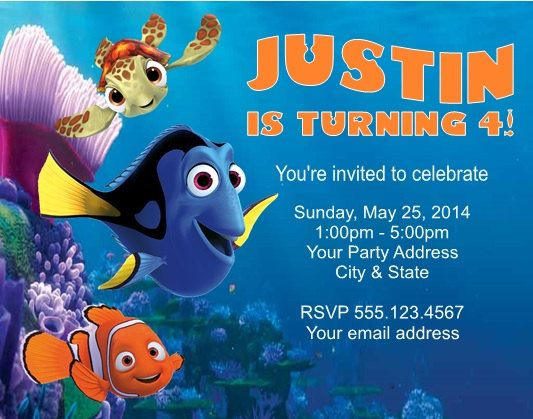 cute finding nemo birthday party invitations