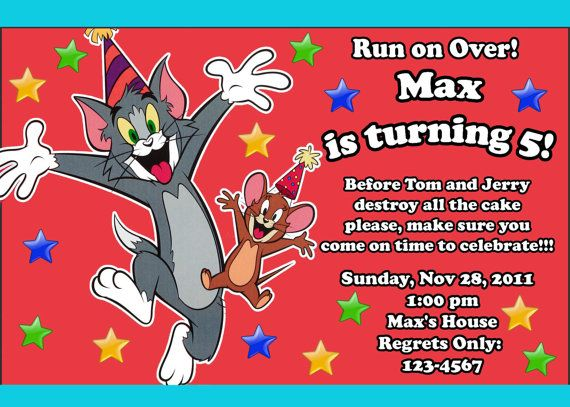 cheerful tom and jerry birthday party invitations