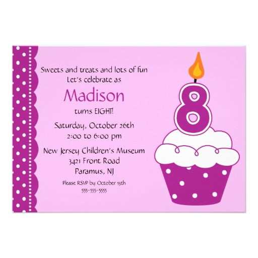 cupcake 8th birthday party invitations wording
