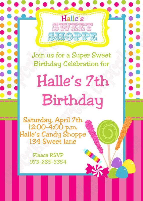 candy invitations for a birthday party