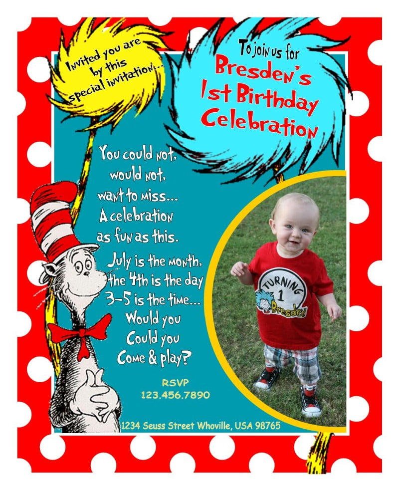 pictures dr seuss birthday invitations wording