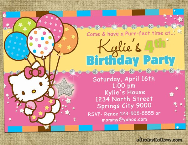 cheerful printable hello kitty birthday invitations