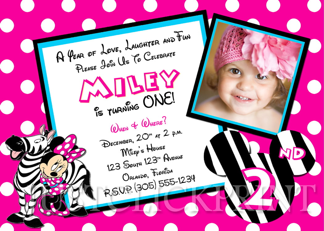 zebra minnie mouse birthday invitations printable