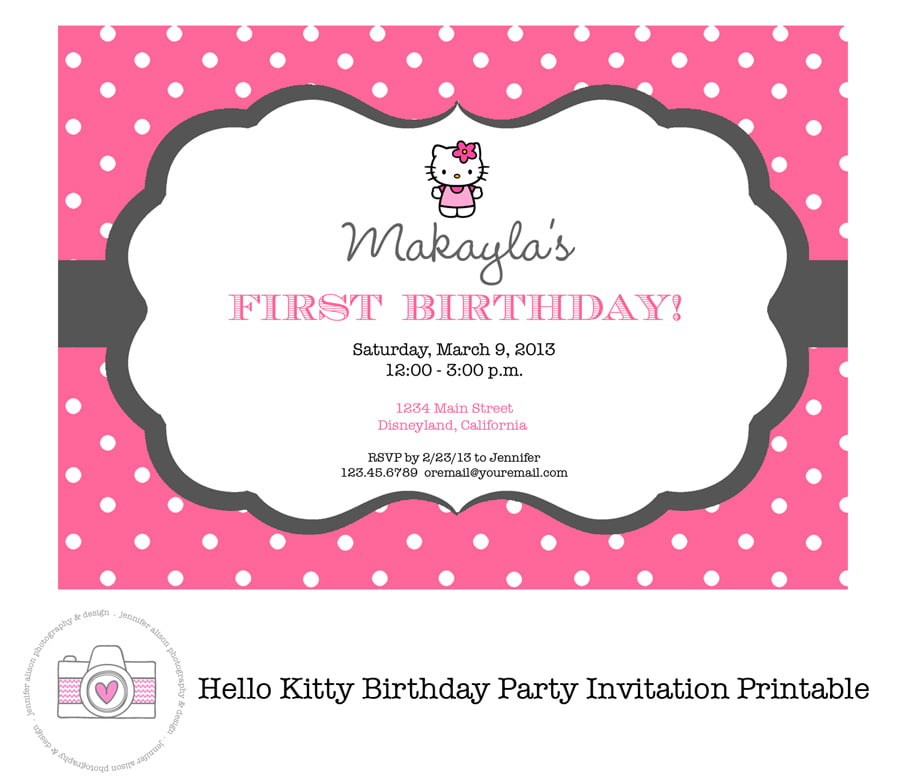 sweet printable hello kitty birthday invitations