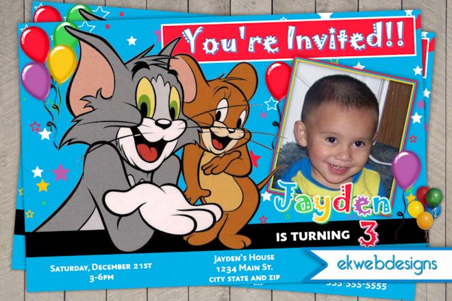 picture tom and jerry birthday party invitations