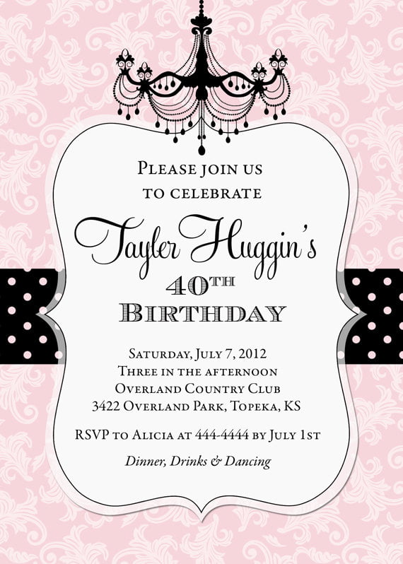 glamour photo birthday invitations for adult