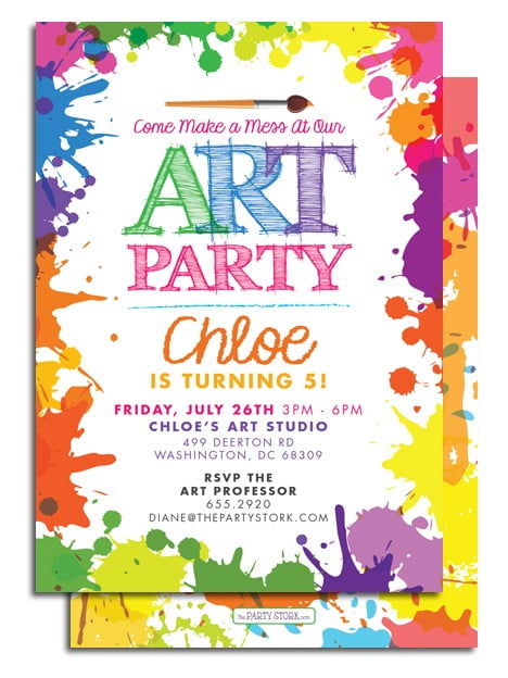artistic art themed birthday party invitations