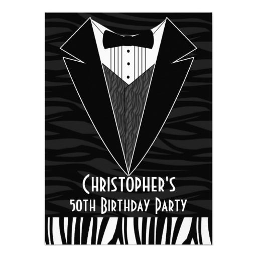 tuxedo 50th birthday party invitations for men
