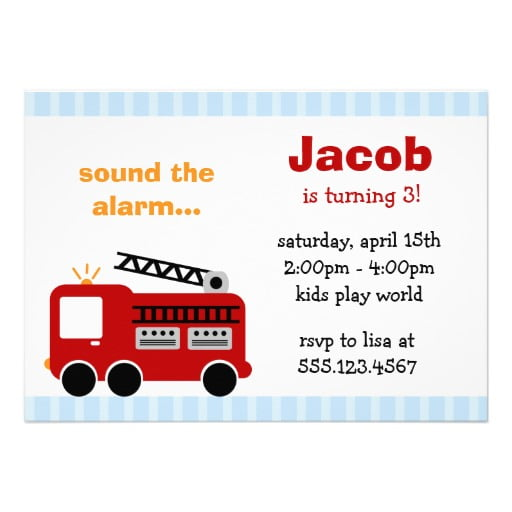 blue free printable fire trucks birthday party invitations