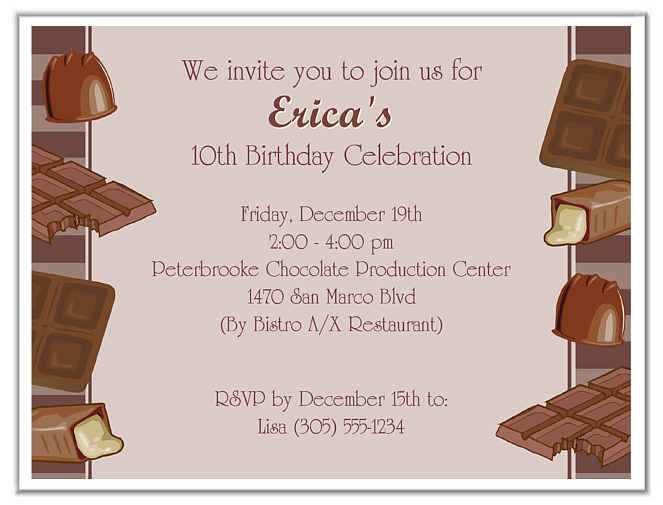 choco invitations for a birthday party